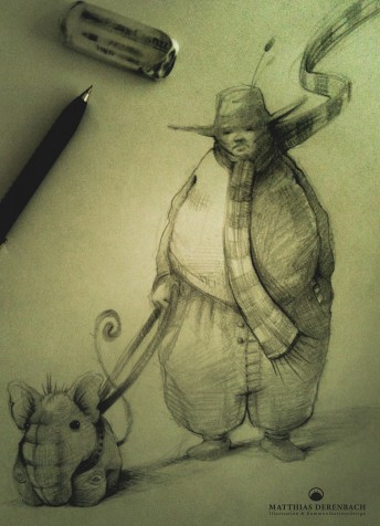 Matthias Derenbach #Illustration - taking the dog out/sketch